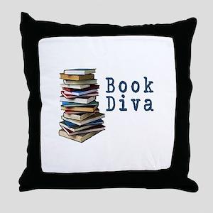 Book Diva (w/books) Throw Pillow