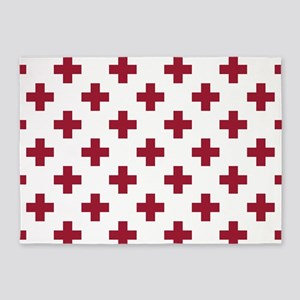 Crimson Red Plus Sign Pattern (Reve 5'x7'Area Rug