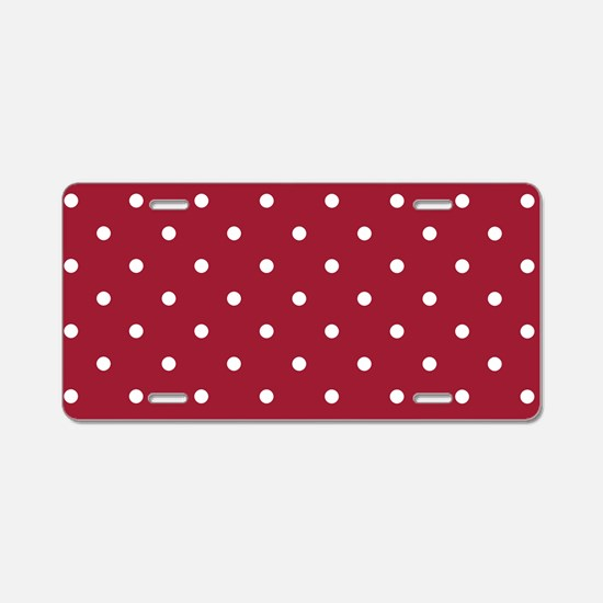 Crimson Red Small Polka Dot Aluminum License Plate