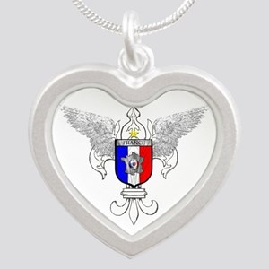 French Graphic Silver Heart Necklace
