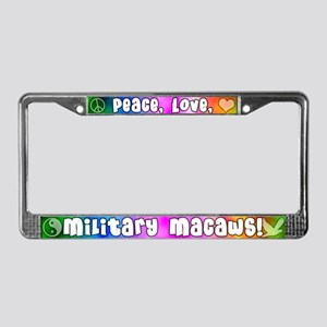 Hippie Military Macaw License Plate Frame