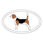 Beagle Dog Oval Sticker (50 pk)
