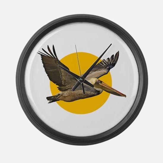 Brown Pelican Large Wall Clock