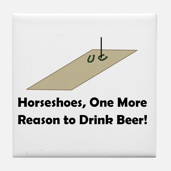Horseshoes and Beer Tile Coaster