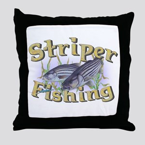 Striper Fishing Throw Pillow