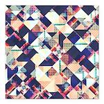 Geometric Grunge Pattern Square Car Magnet 3