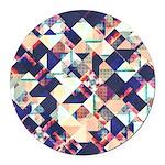 Geometric Grunge Pattern Round Car Magnet