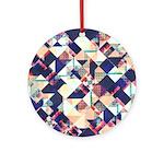 Geometric Grunge Pattern Round Ornament