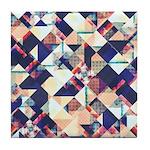 Geometric Grunge Pattern Tile Coaster
