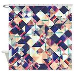 Geometric Grunge Pattern Shower Curtain