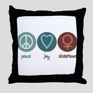 Peace Joy Sisterhood Throw Pillow