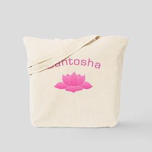 SANTOSHA with Lotus Yoga Tote Bag