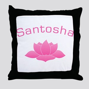 SANTOSHA with Lotus Yoga Throw Pillow