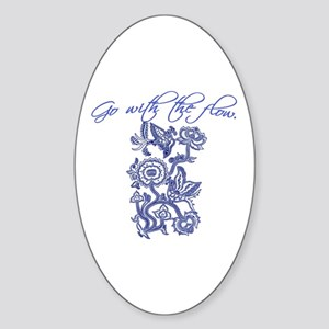 Beautiful Blue and White Yoga Oval Sticker