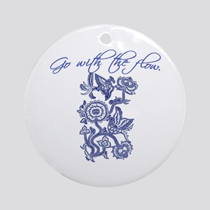 Beautiful Blue and White Yoga Ornament (Round)