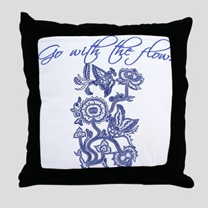 Beautiful Blue and White Yoga Throw Pillow