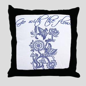 Beautiful Blue and White Yoga Throw Pillow