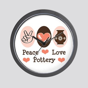 Peace Love Pottery Wall Clock
