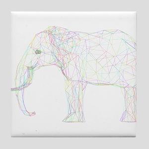 Rainbow Geometric Elephant Outline Tile Coaster