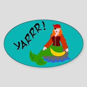 Pirate Mermaid Oval Sticker