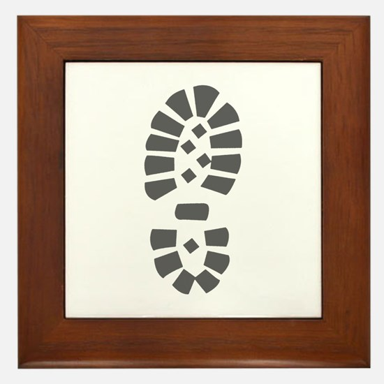 Hiking Boot Print Framed Tile