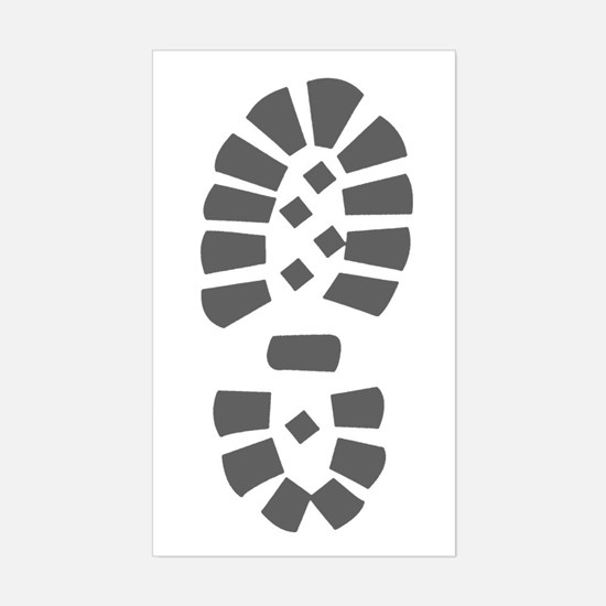 Hiking Boot Print Rectangle Bumper Stickers