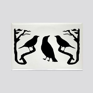 Dark Birds Silhouette Rectangle Magnet