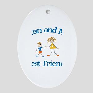 Kieran and Mom - Best Friends Oval Ornament