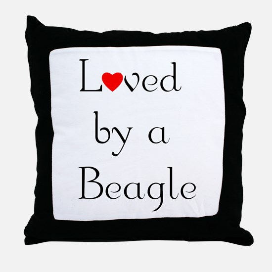 Loved by a Beagle Throw Pillow