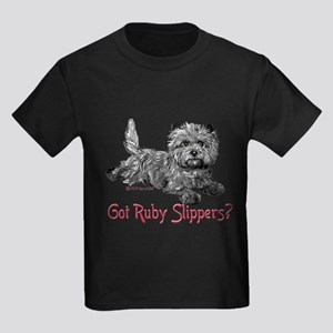 Cairn Terrier Ruby Slippers Kids Dark T-Shirt