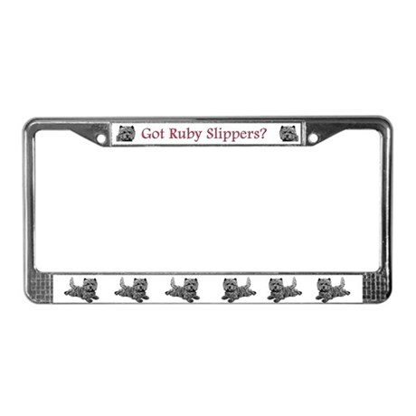Cairn Terrier Ruby Slippers License Plate Frame