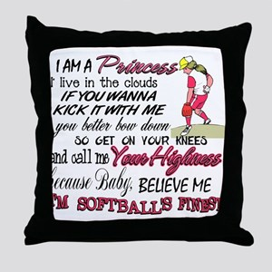 Softball's Finest Throw Pillow