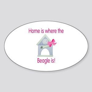 Home is where the Beagle is Oval Sticker