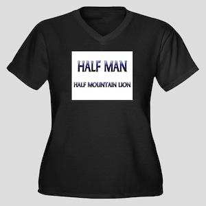Half Man Half Mountain Lion Women's Plus Size V-Ne
