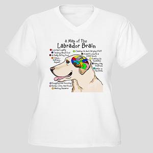 Yellow Lab Brain Women's Plus Size V-Neck T-Shirt