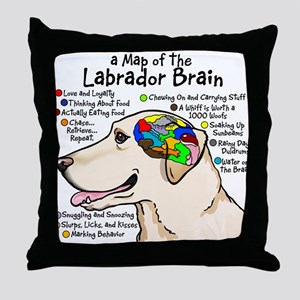 Yellow Lab Brain Throw Pillow