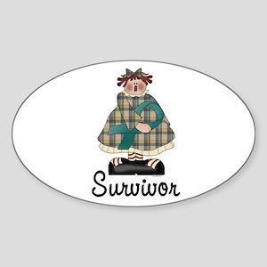 Country Girl Survivor TEAL 2 Oval Sticker