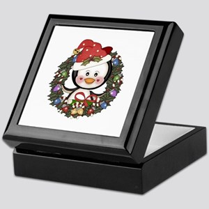 Christmas Penguin Holiday Wreath Keepsake Box