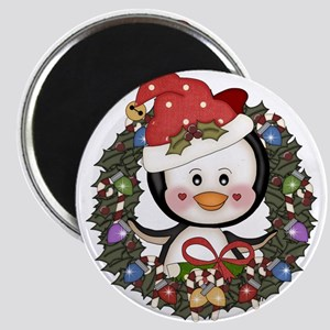 Christmas Penguin Holiday Wreath Magnet