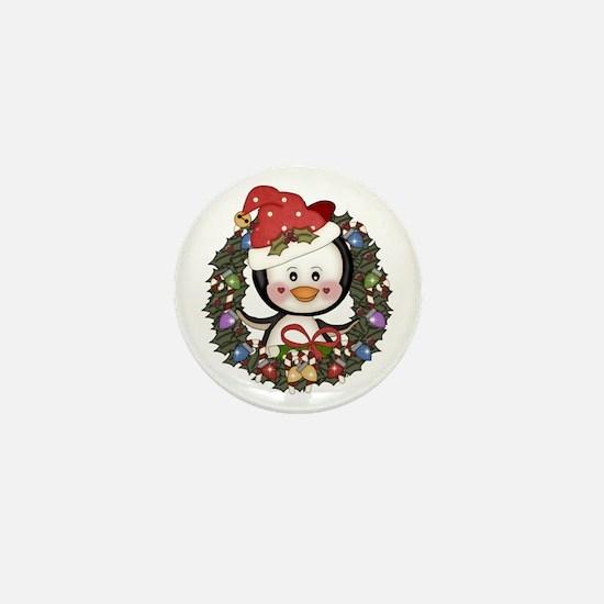 Christmas Penguin Holiday Wreath Mini Button
