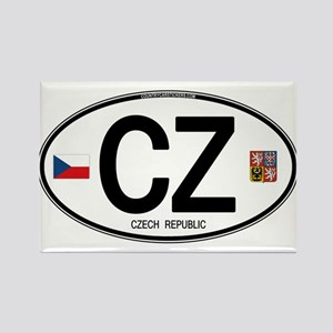 Czech Republic Euro Oval Rectangle Magnet