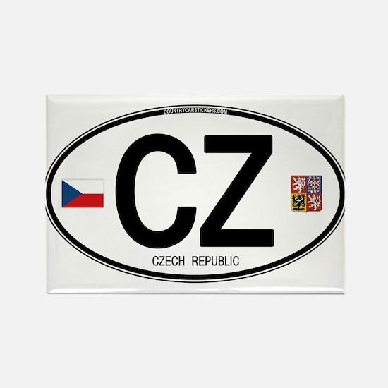 Czech Republic Euro Oval Rectangle Magnet