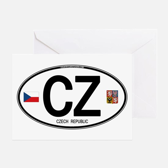 Czech Republic Euro Oval Greeting Card