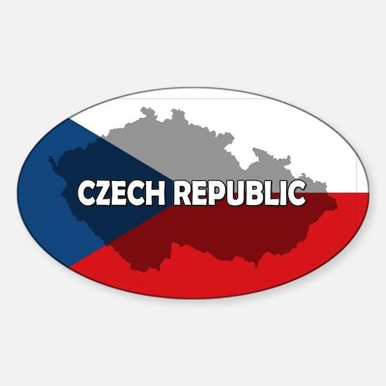 Czech Republic Flag Extra Sticker (Oval)