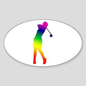 Golfer Oval Sticker
