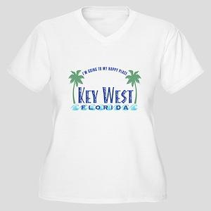 Key West Happy Place - Women's Plus Size V-Neck T-