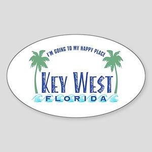 Key West Happy Place - Oval Sticker