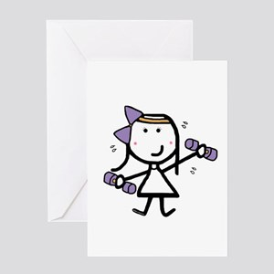 Girl & Exercise Greeting Card