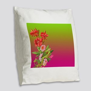 Bouquet on Gradient Burlap Throw Pillow