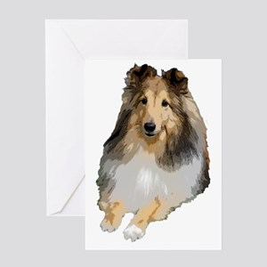 Sheltie lying down Greeting Cards